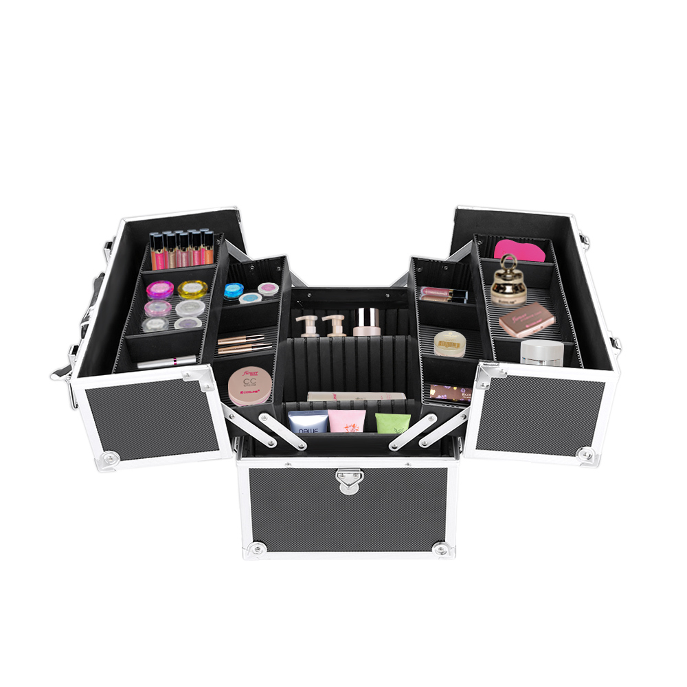 Black Ikayaa Professional Aluminum Makeup Organizer Storage Case
