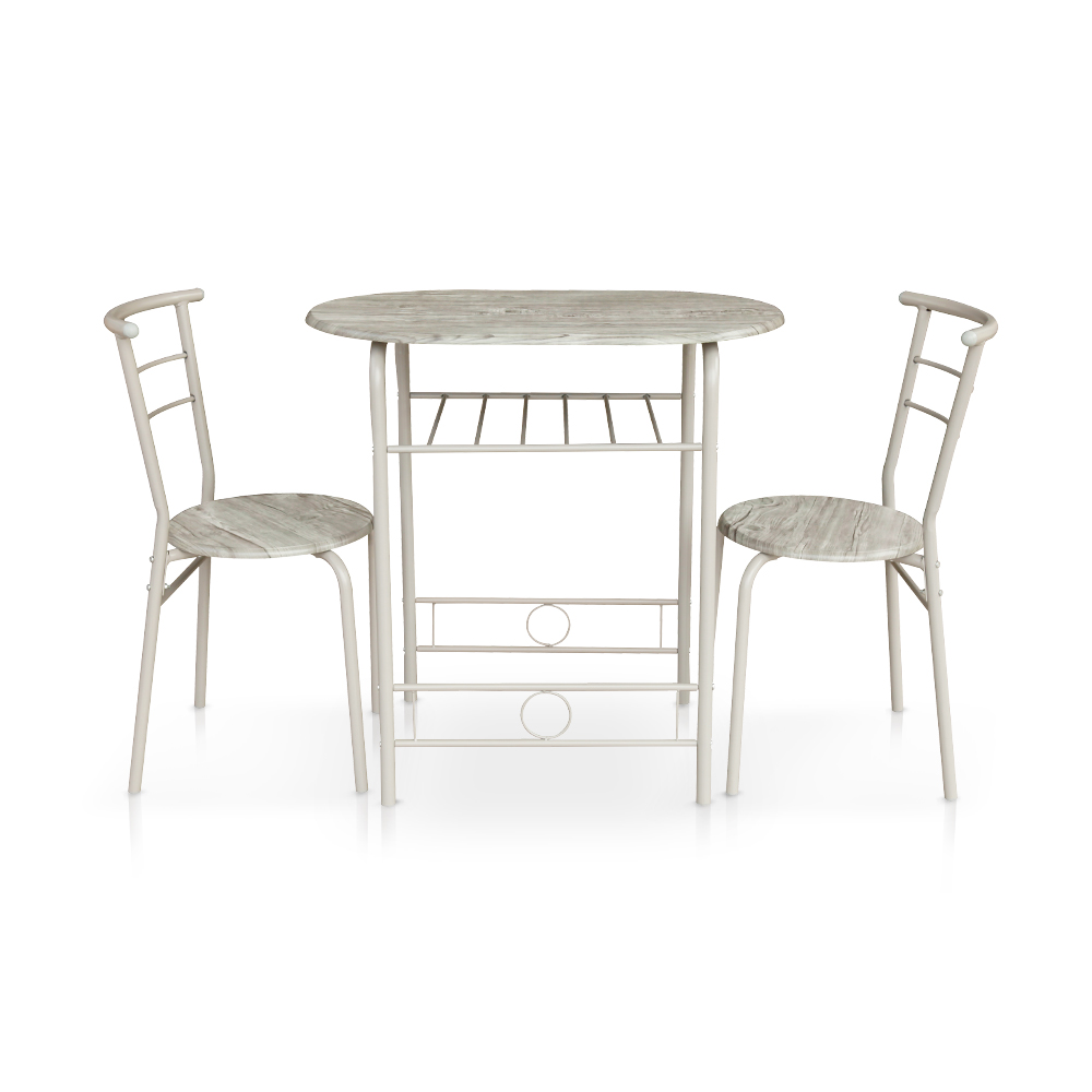 ikayaa modern metal frame 3pcs ensemble de table à manger avec 2