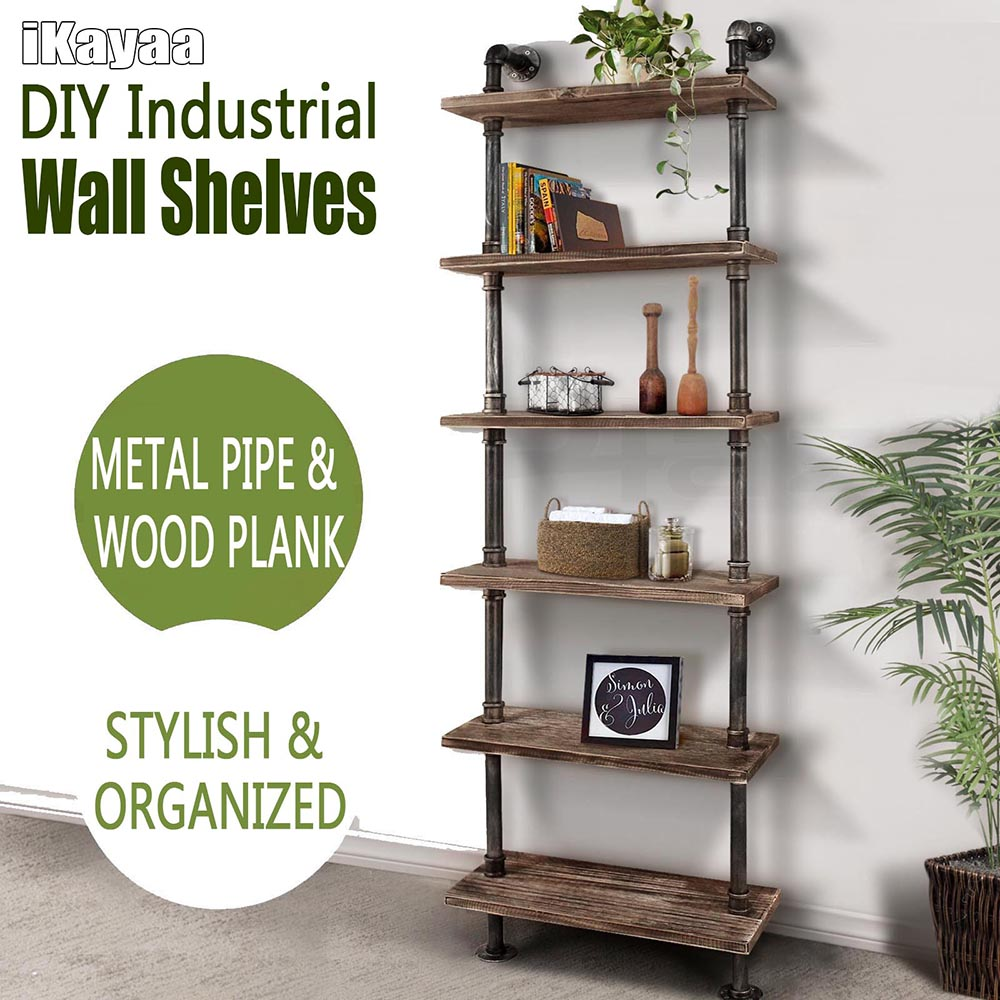 Wood ikayaa 6 tier rustic industrial ladder wall shelves lovdock ikayaa 6 tier rustic industrial ladder wall shelves amipublicfo Image collections
