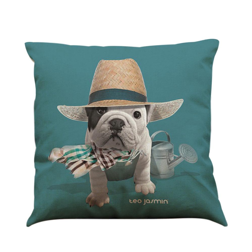 Throw Pillow Pillowcases : Simple Fashion Bulldog Pug Dog Animal Pillowcase Linen Throw Pillow Covers