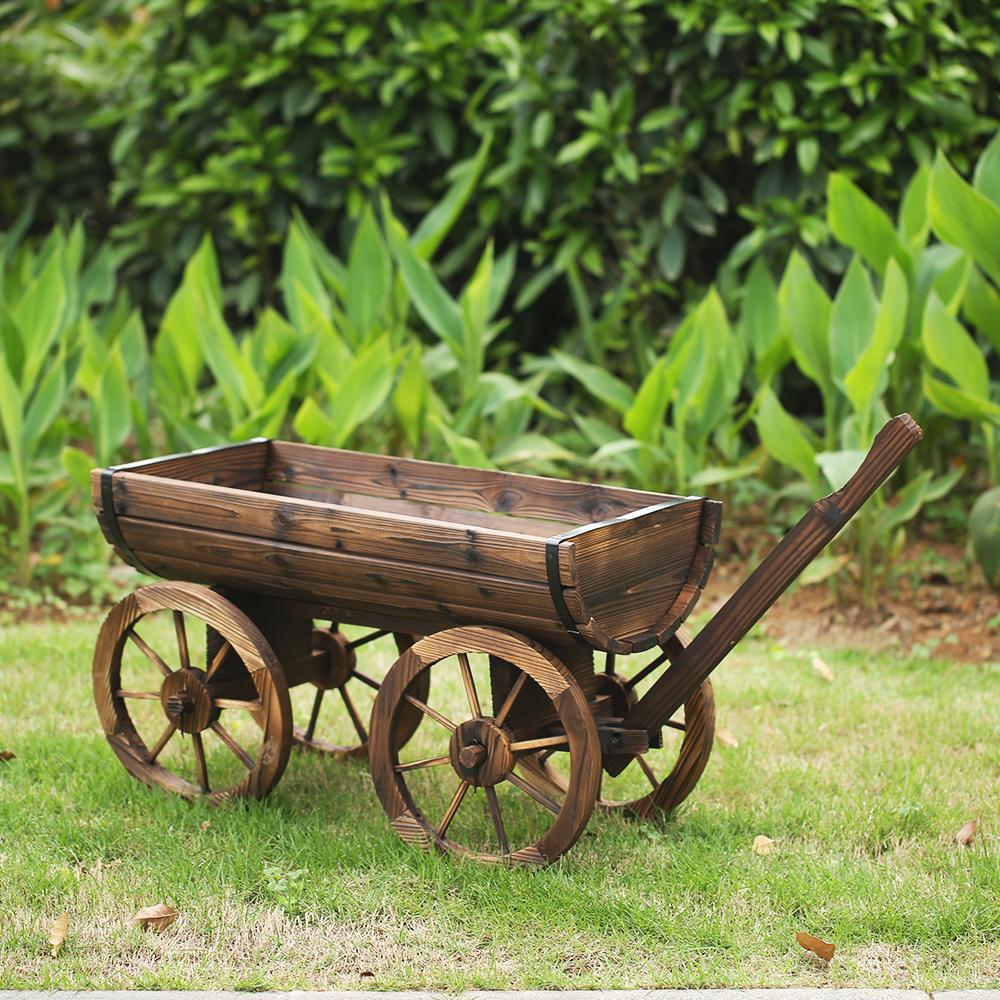 Amish Wagon Decorative Garden Planter Green - Garden Designs