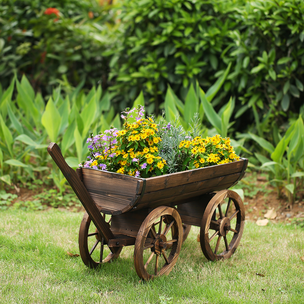 Wood Ikayaa Garden Wagon Planter Pot Lovdock