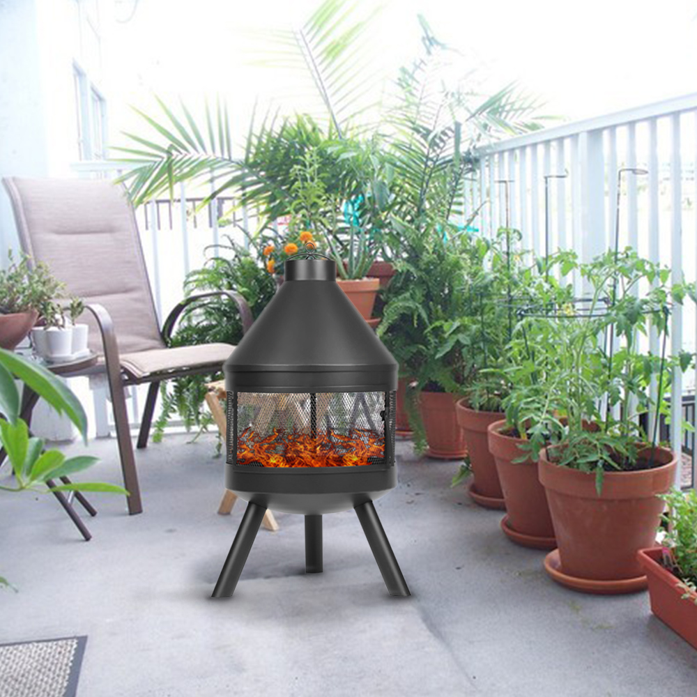 Solo 8789 Ikayaa Fogon Al Aire Libre Chimenea Metal Patio Trasero - Chimenea-jardin