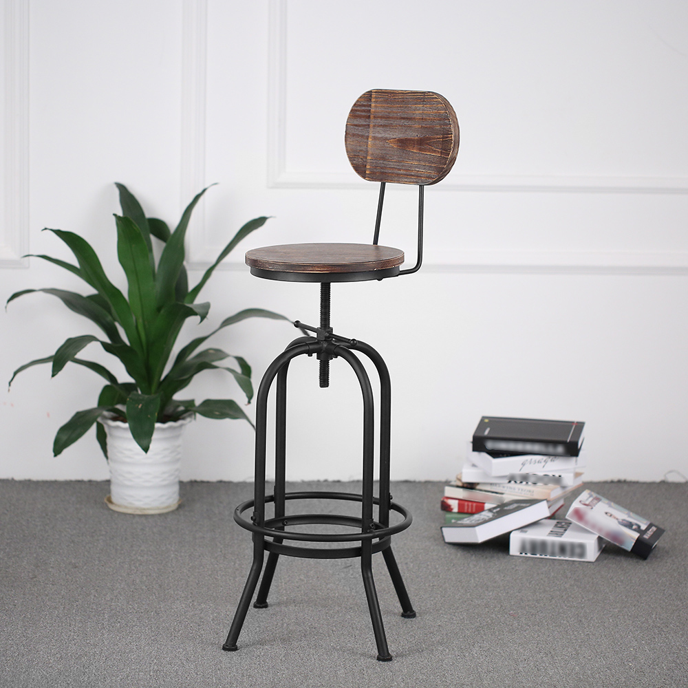 D s ikayaa chaise de bar de style industriel en bois r glable en hauteur - Chaise de bar style industriel ...