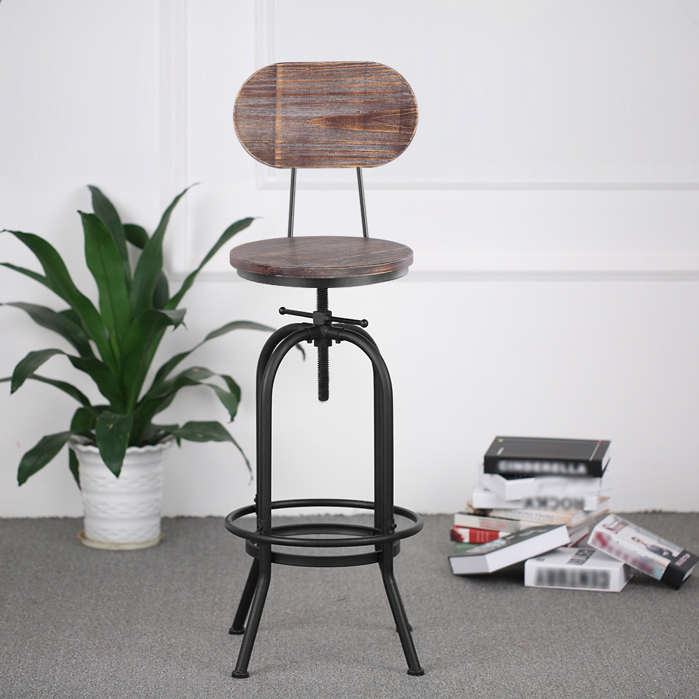 IKayaa Bar Stool Height Adjustable Swivel Kitchen Dining Chair