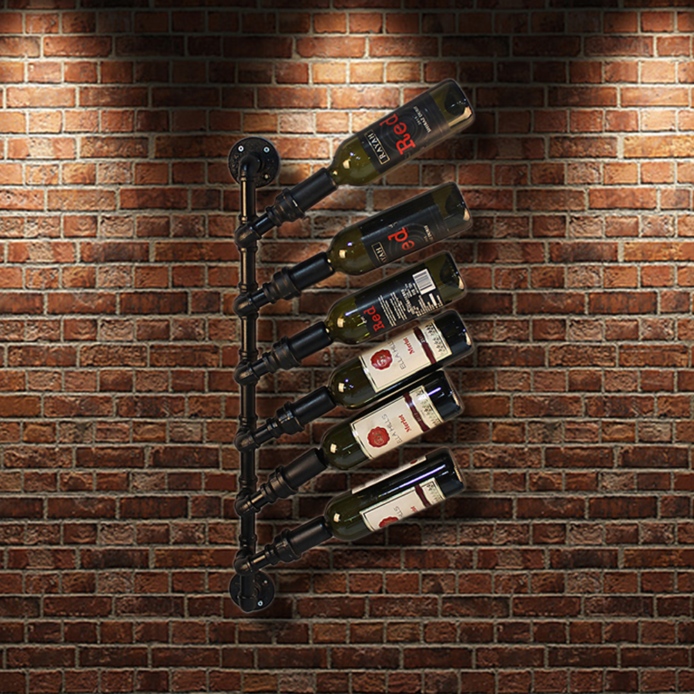 black iKayaa Industrial 6 Bottle Wall Mount Wine Rack - LovDock.com