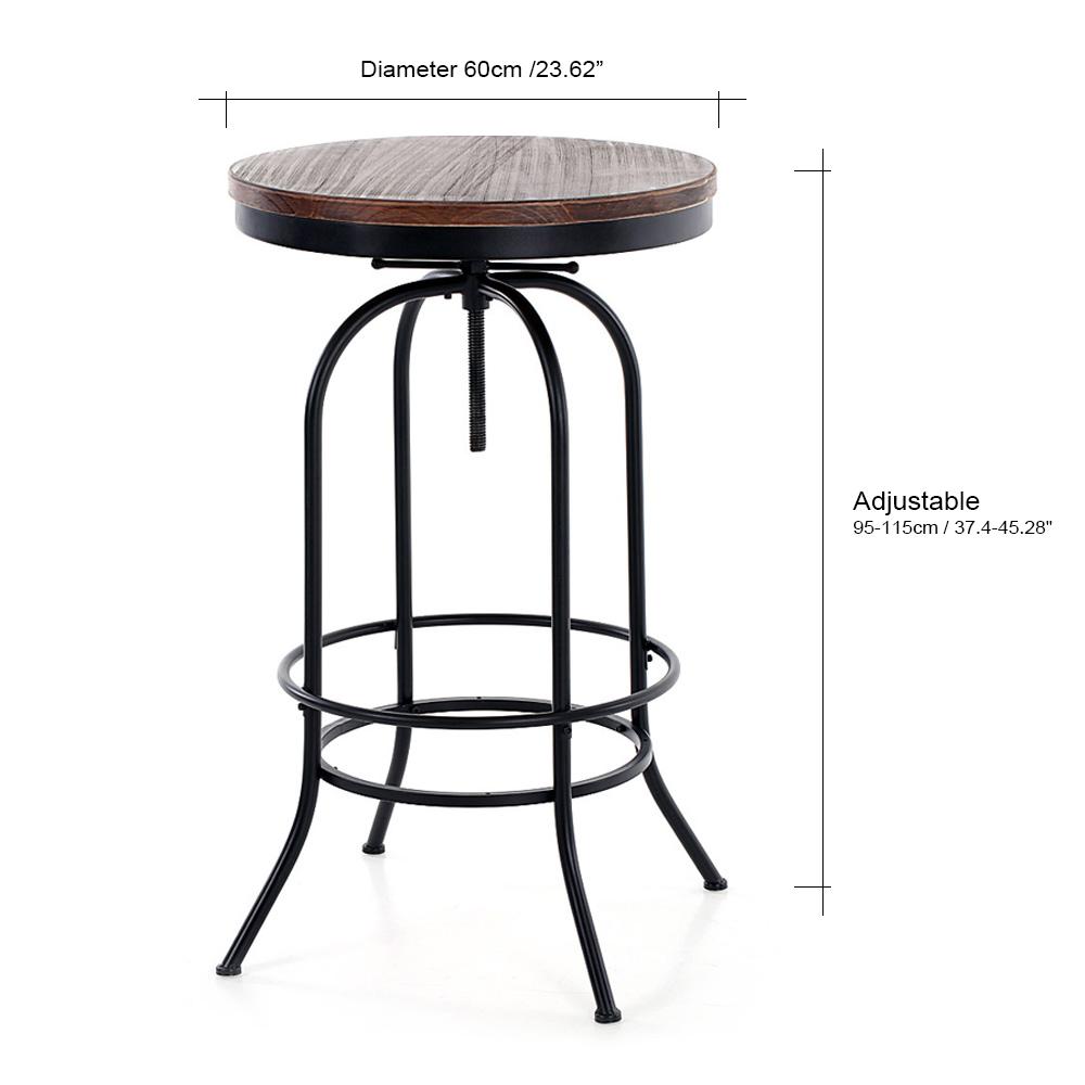 Table haute ronde mange debout style industriel en bois et acier hauteur r glable unit - Table ronde style industriel ...