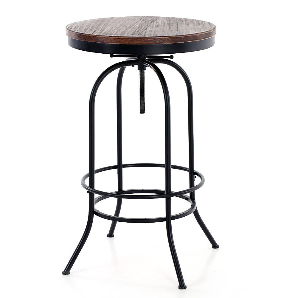 Table haute style industriel en bois de pin interougehome for Table ronde style industriel