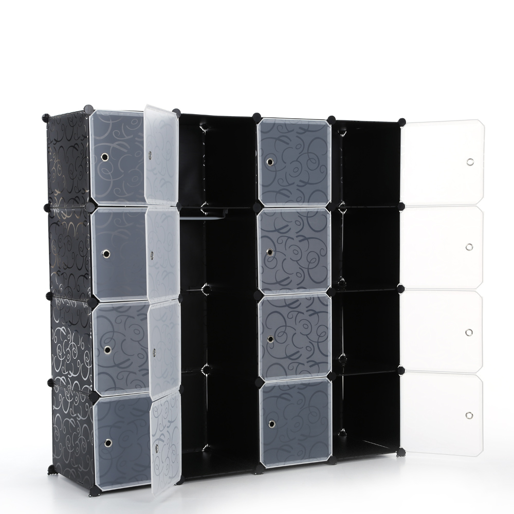 armoire modulable seize cubes noir et blanc interougehome. Black Bedroom Furniture Sets. Home Design Ideas