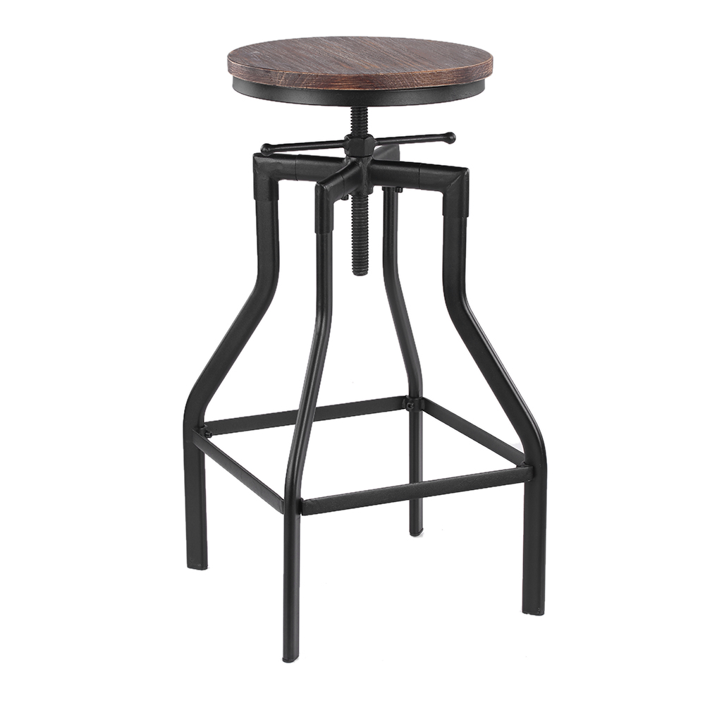 d s ikayaa tabouret de bar de style industriel en bois r glable en hauteur. Black Bedroom Furniture Sets. Home Design Ideas