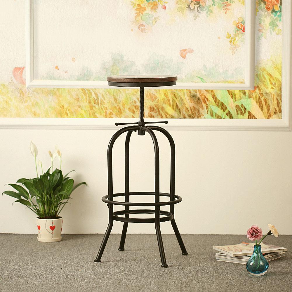 IKayaa Height Adjustable Swivel Bar Stool Rustic Kitchen Dining Chair