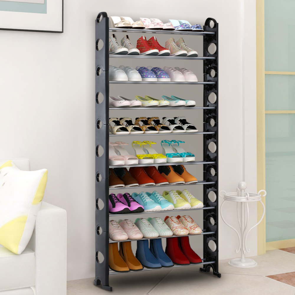 IKayaa Portable 10 Tier Standing Shoe Rack Organizer Storage Shelf