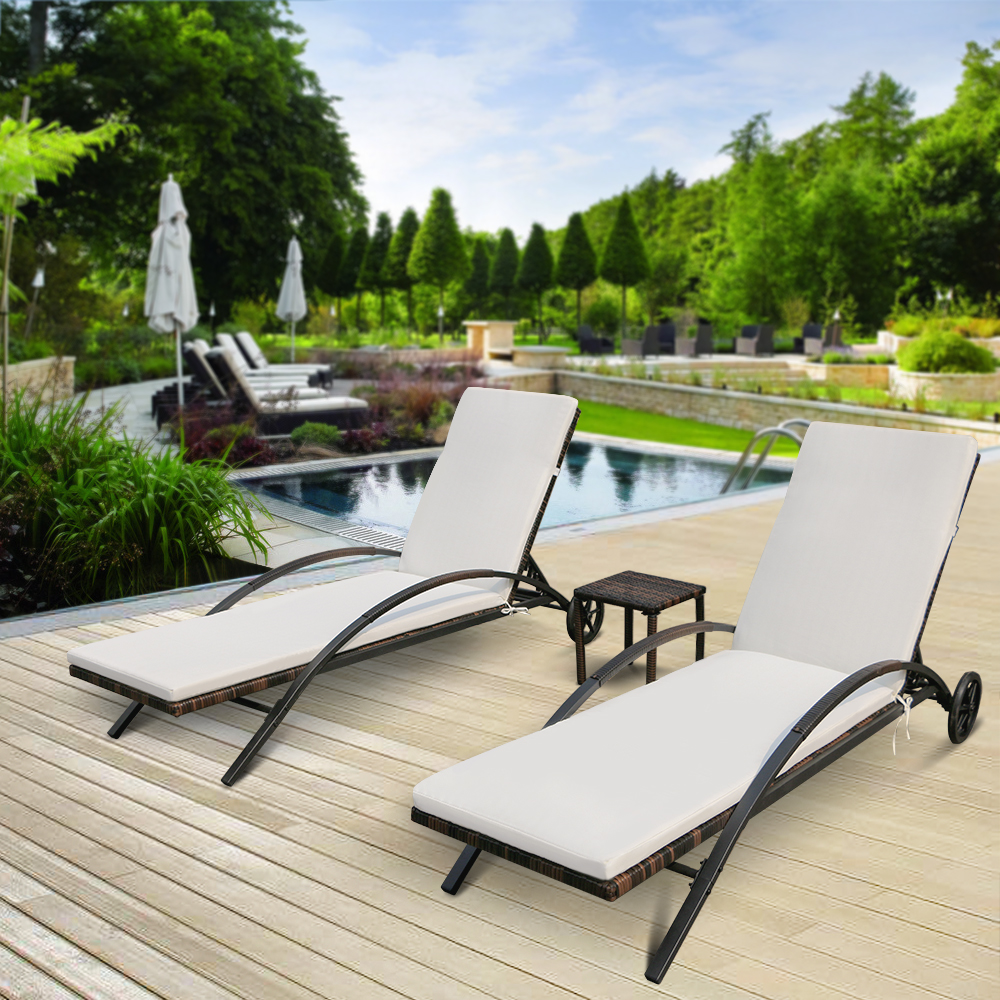 IKayaa 3PCS Rattan Wicker Patio Chaise Lounge Chair Table Set
