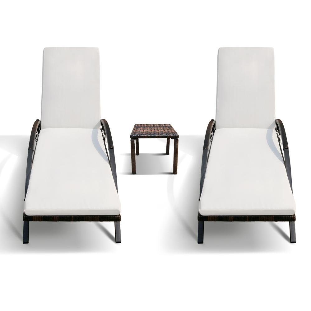 Lot de deux bains soleil chaise longue transat marron et for Chaise soleil et transat