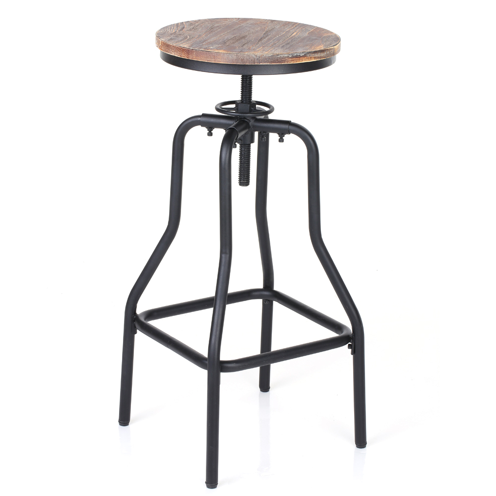 d s ikayaa tabouret de bar de style industriel en bois et acier. Black Bedroom Furniture Sets. Home Design Ideas