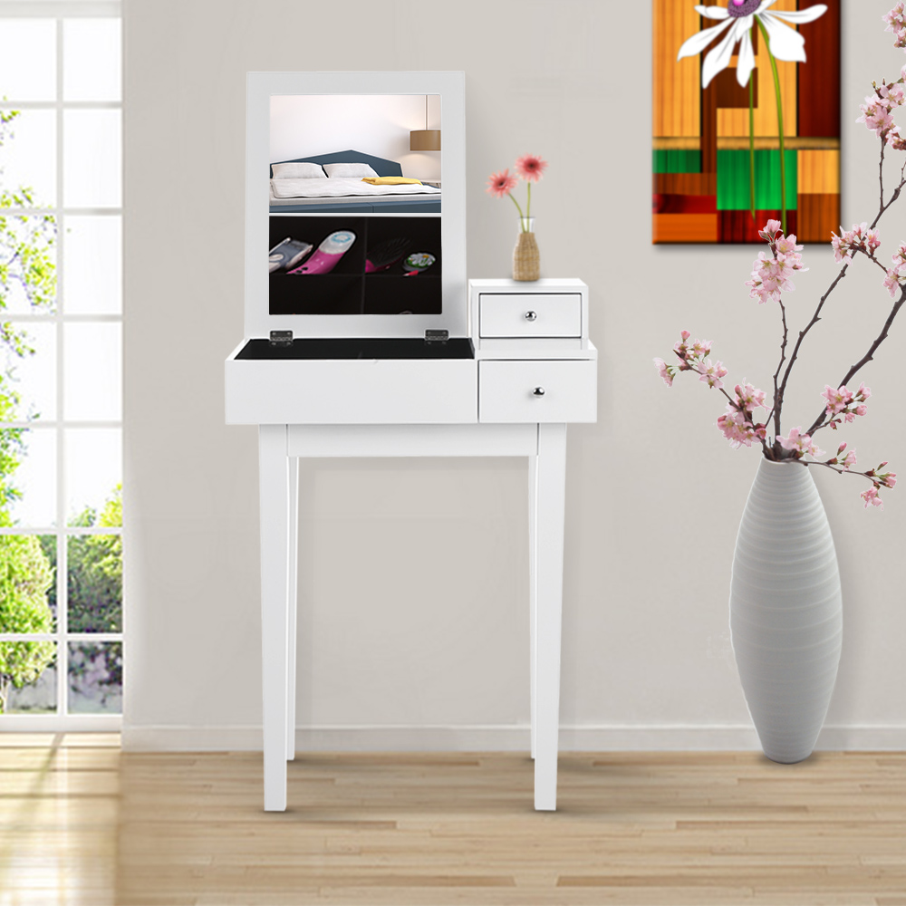 white iKayaa Bedroom Vanity Table With Mirror Dresser - LovDock.com