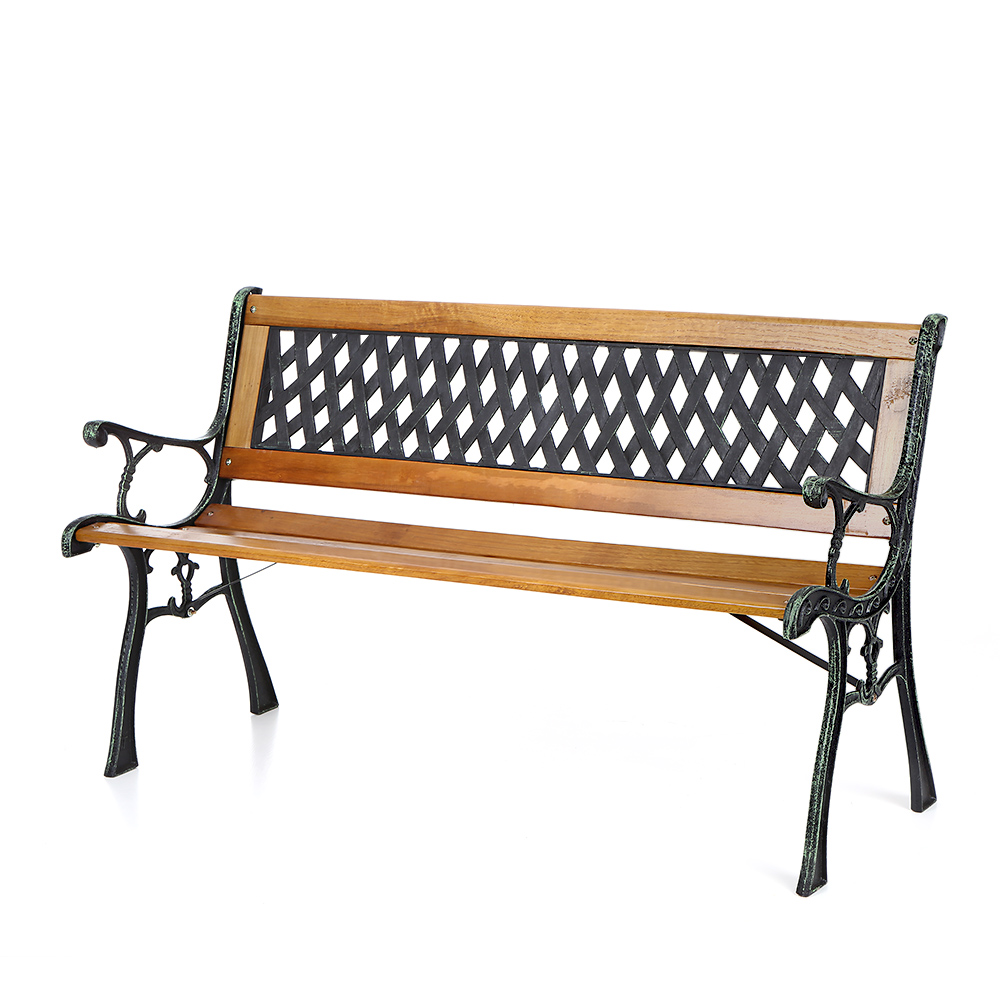 Wood ikayaa 50 cast iron wood outdoor garden patio bench for Outdoor furniture benches