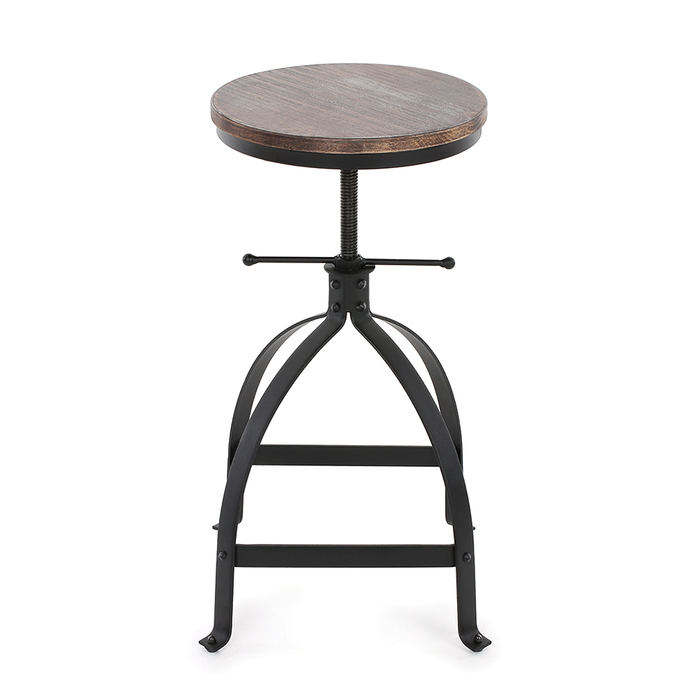 wood iKayaa Swivel Pinewood Bar Stool Rustic Kitchen Dining Chair ...