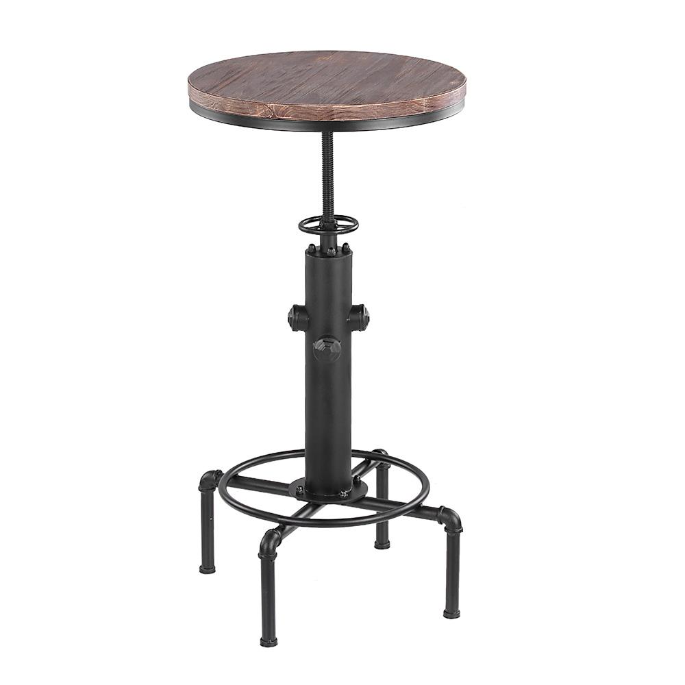 table haute mange debout style industriel en bois et acier hauteur r glable unit. Black Bedroom Furniture Sets. Home Design Ideas