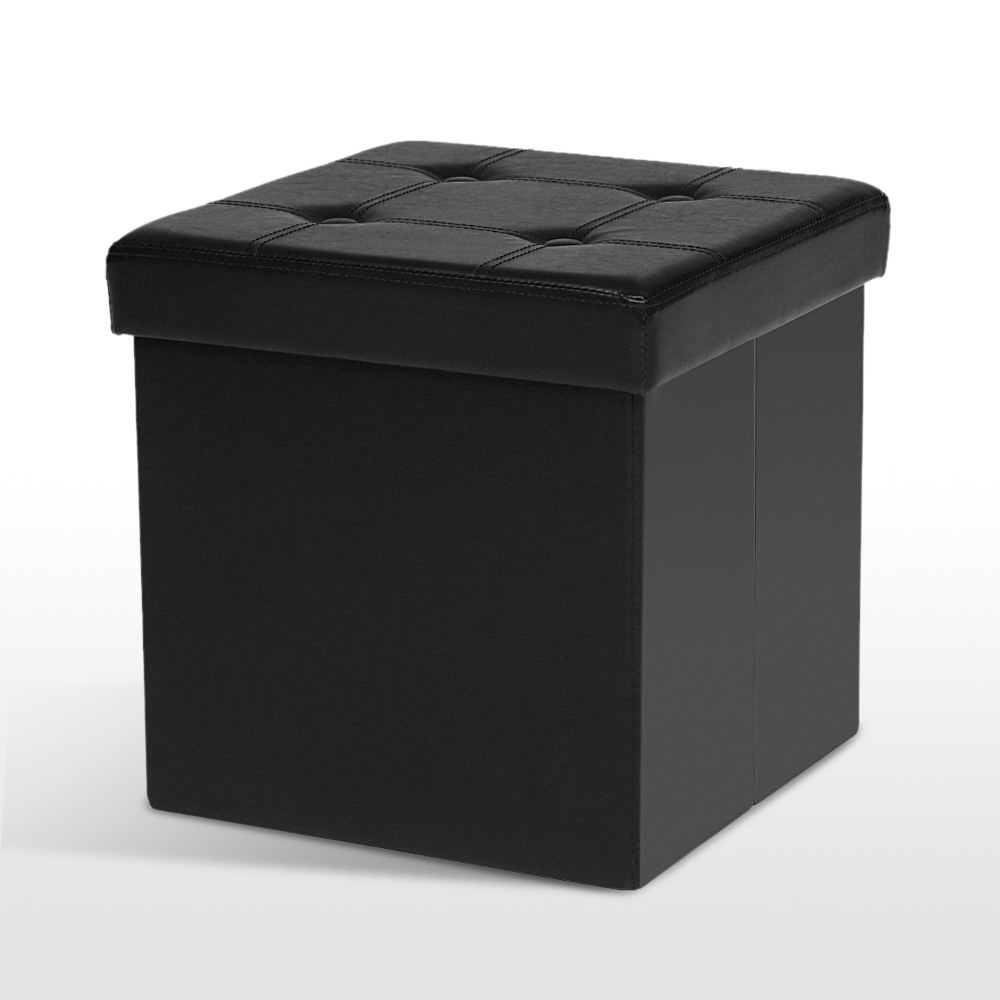 Black ikayaa pu leather folding storage ottoman footstool for Black leather footstool