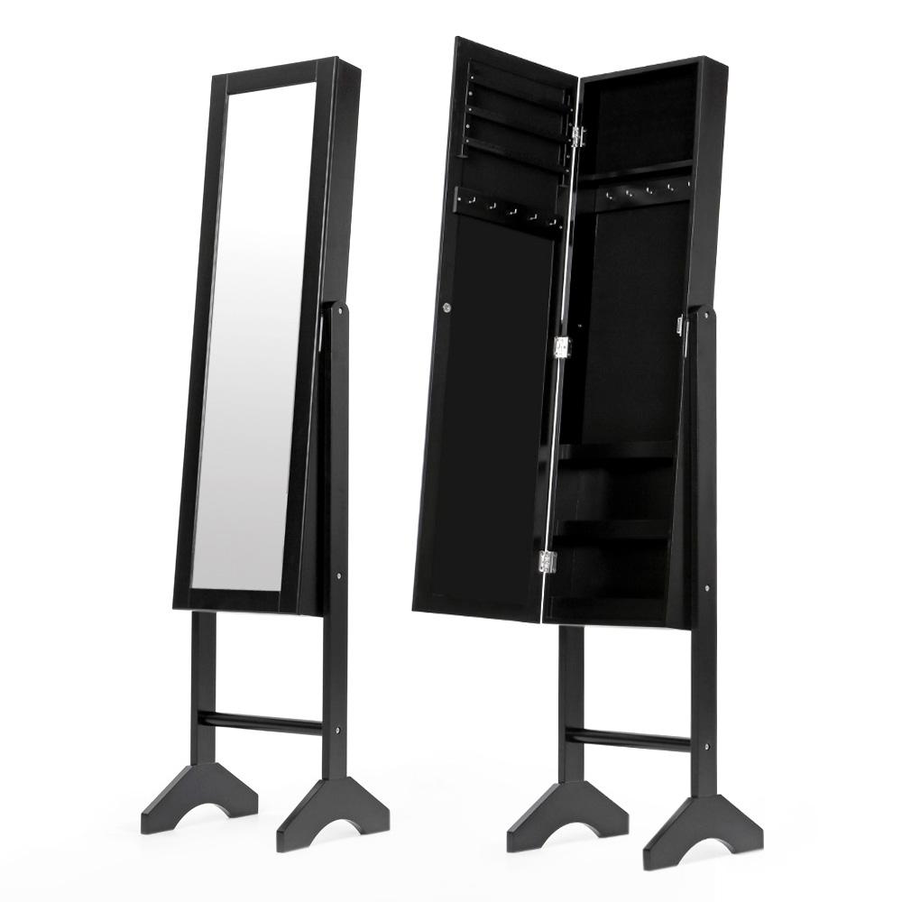 Black Ikayaa Jewelry Storage Box Organizer With Real Dressing Mirror Lovdock Com