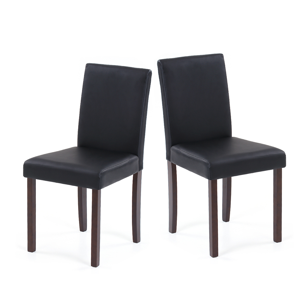 Black ikayaa 2pcs modern leather wood kitchen dining for Black leather kitchen chairs