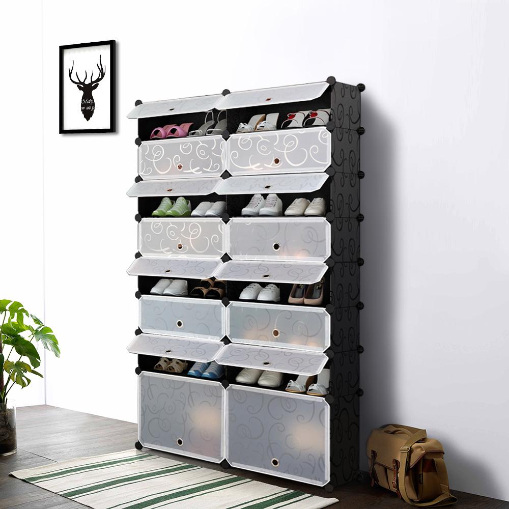 Shoes Rack Part - 28: IKayaa Multi-Use 8 Layers DIY Cube Plastic Shoes Rack