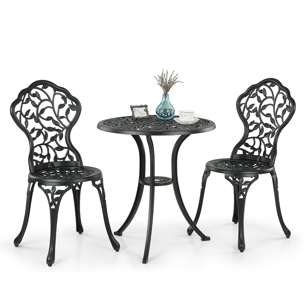 ikayaa 3pcs moderne patio ext rieur ensemble bistro en aluminium porche balcon jardin table et. Black Bedroom Furniture Sets. Home Design Ideas