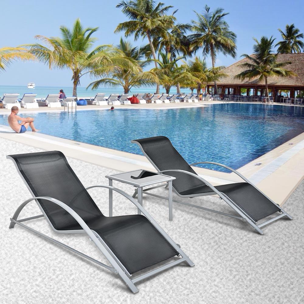 Sólo 114.50€, Construcción iKayaa Moda 3PCS Patio Chaise silla de ...