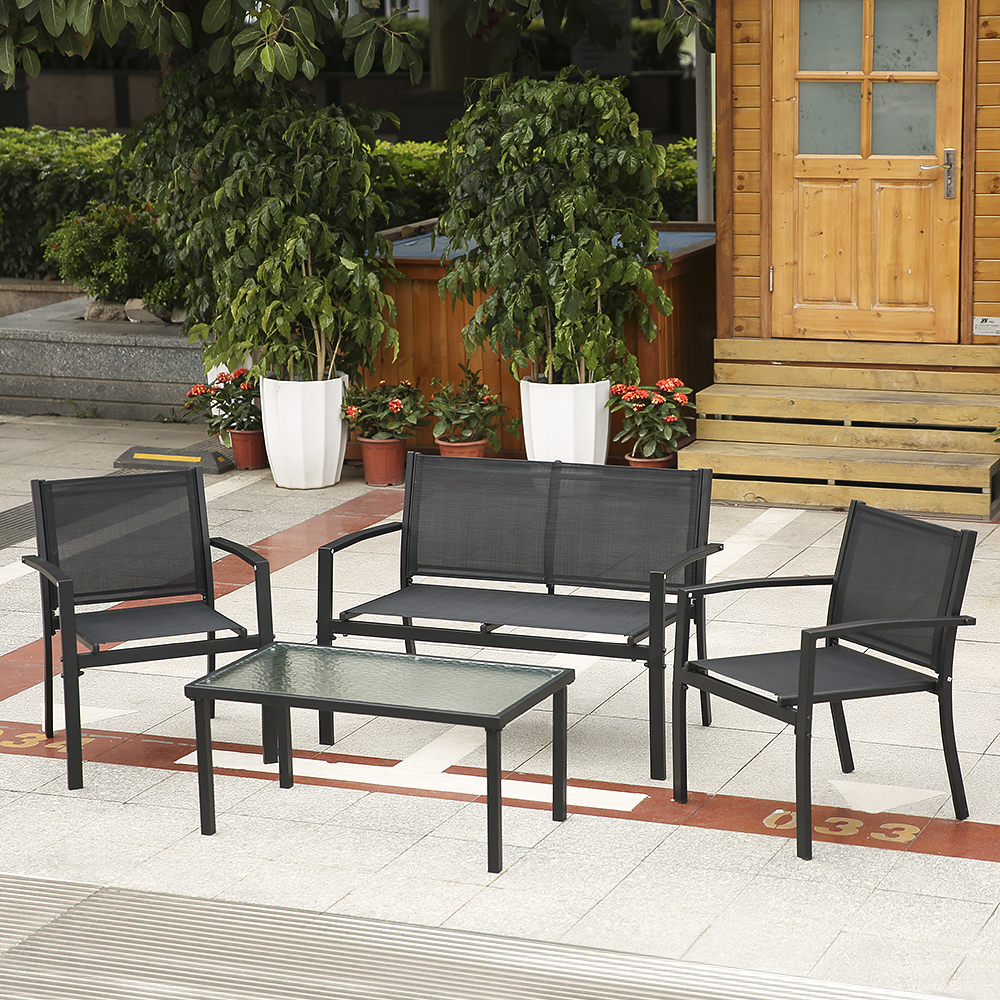 Set Giardino Tavolo Sedie.Solo 227 74 Ikayaa 4pcs Outdoor Patio Giardino Veranda Divano