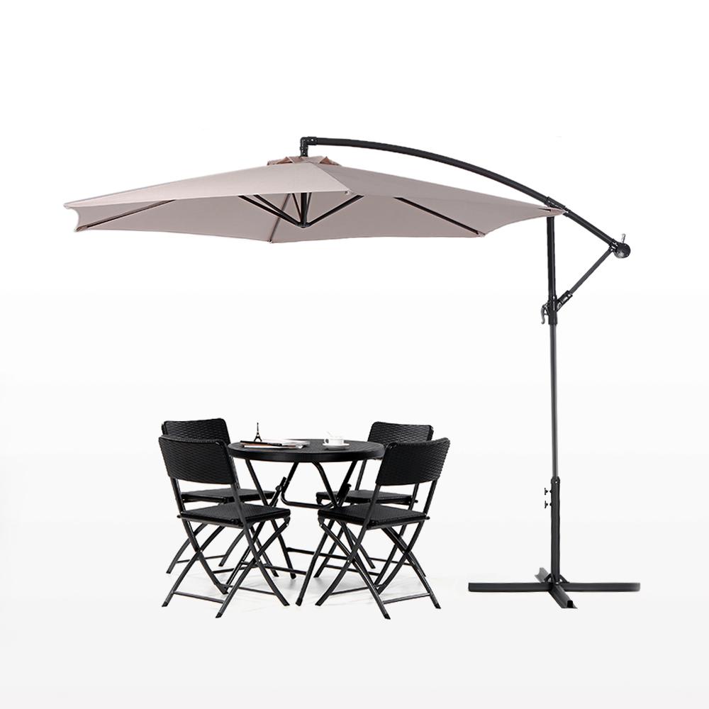 IKayaa 3M Hanging Outdoor Garden Patio Umbrella