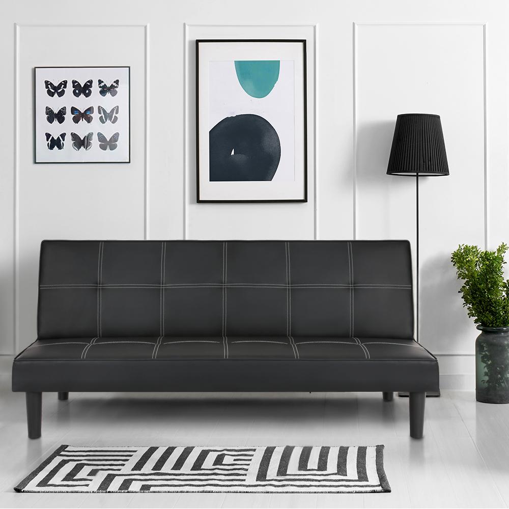 Ikayaa Faux Leather Futon Couch Sleeper Black Sofa Bed