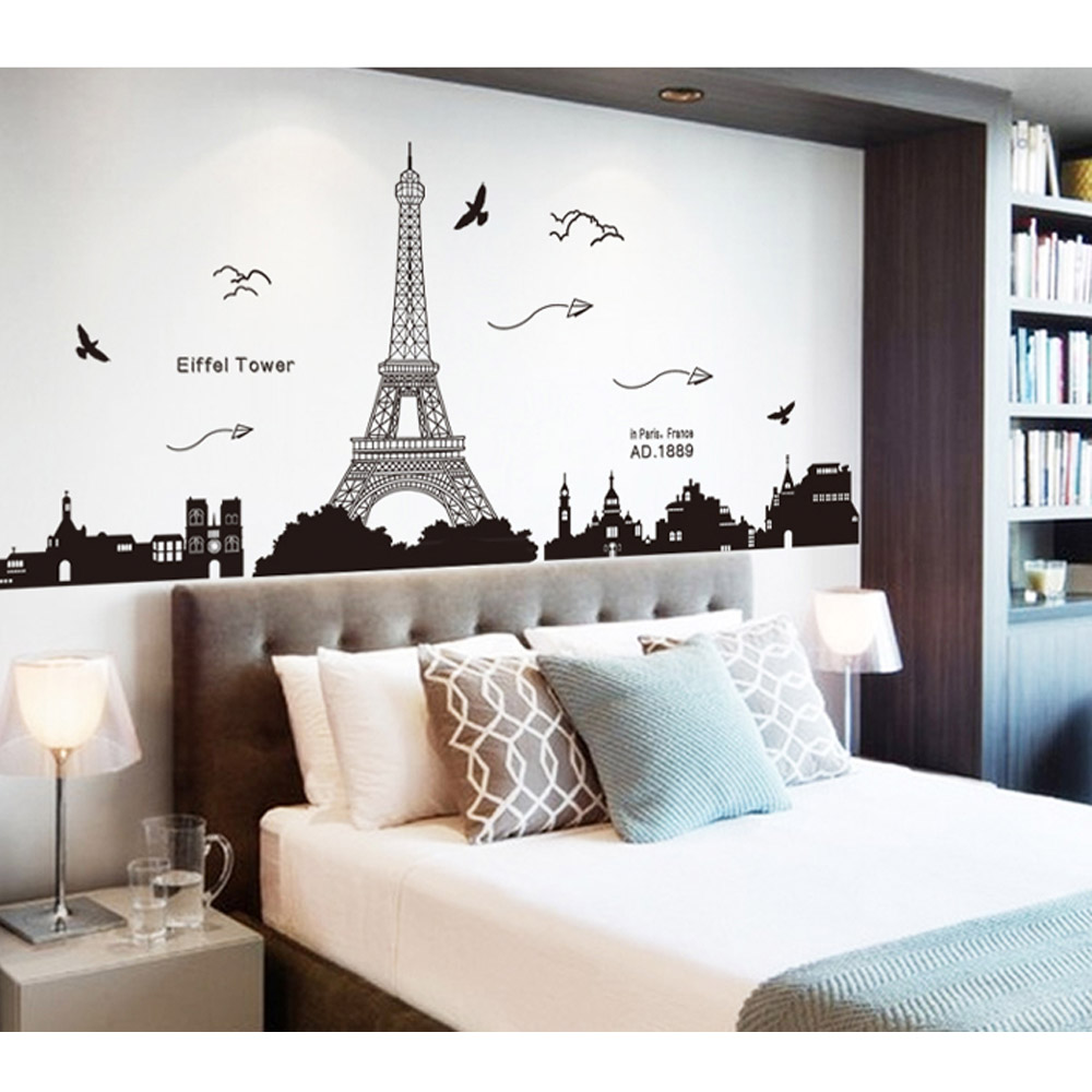Ly 9 02€ Anself 90 60cm Stickers Muraux Autocollants Stickers En Motif De La Tour Eiffel Paris Belle Romantique Simple Bricolage Décor Mural