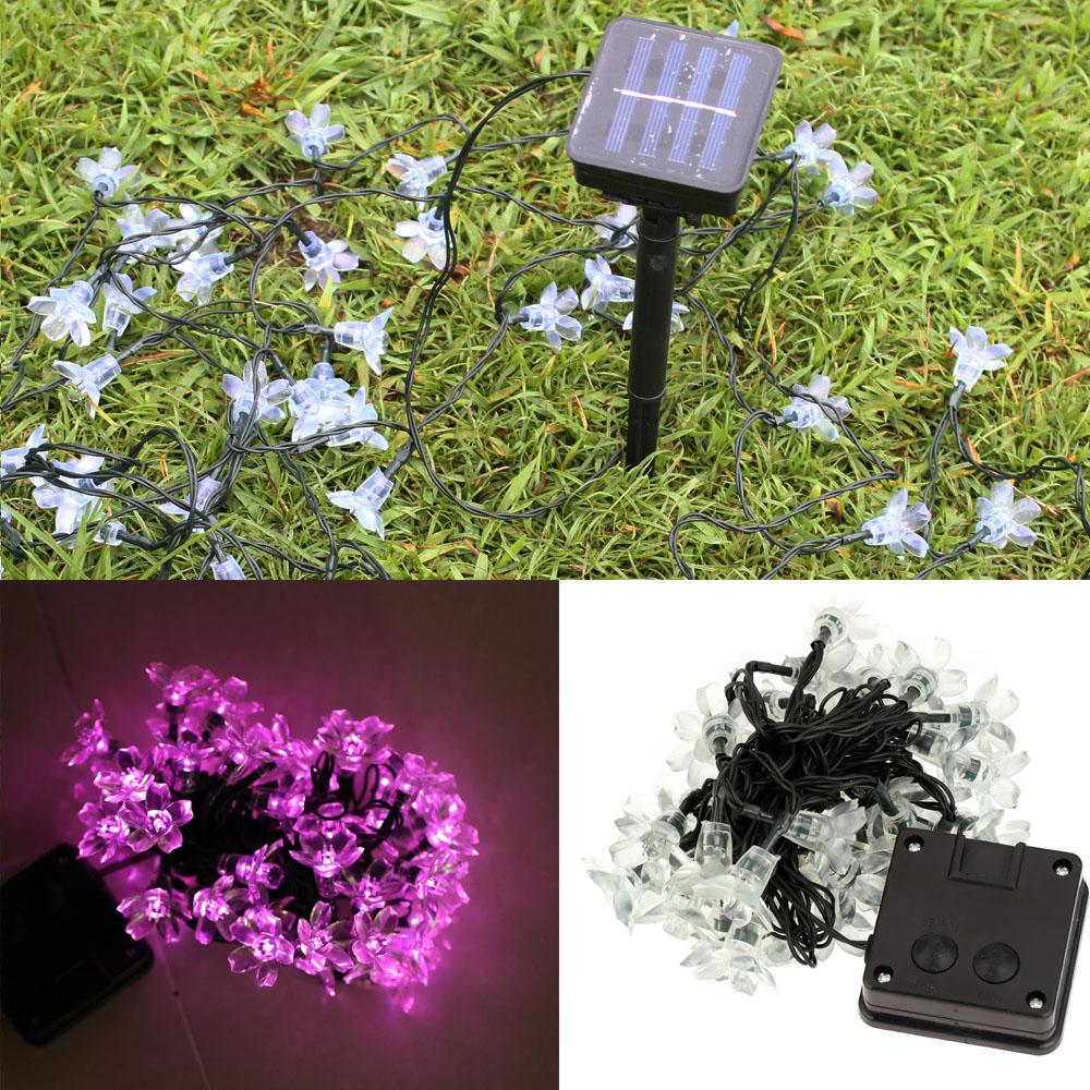 50 led solar outdoor fairy flower blossom wedding party. Black Bedroom Furniture Sets. Home Design Ideas