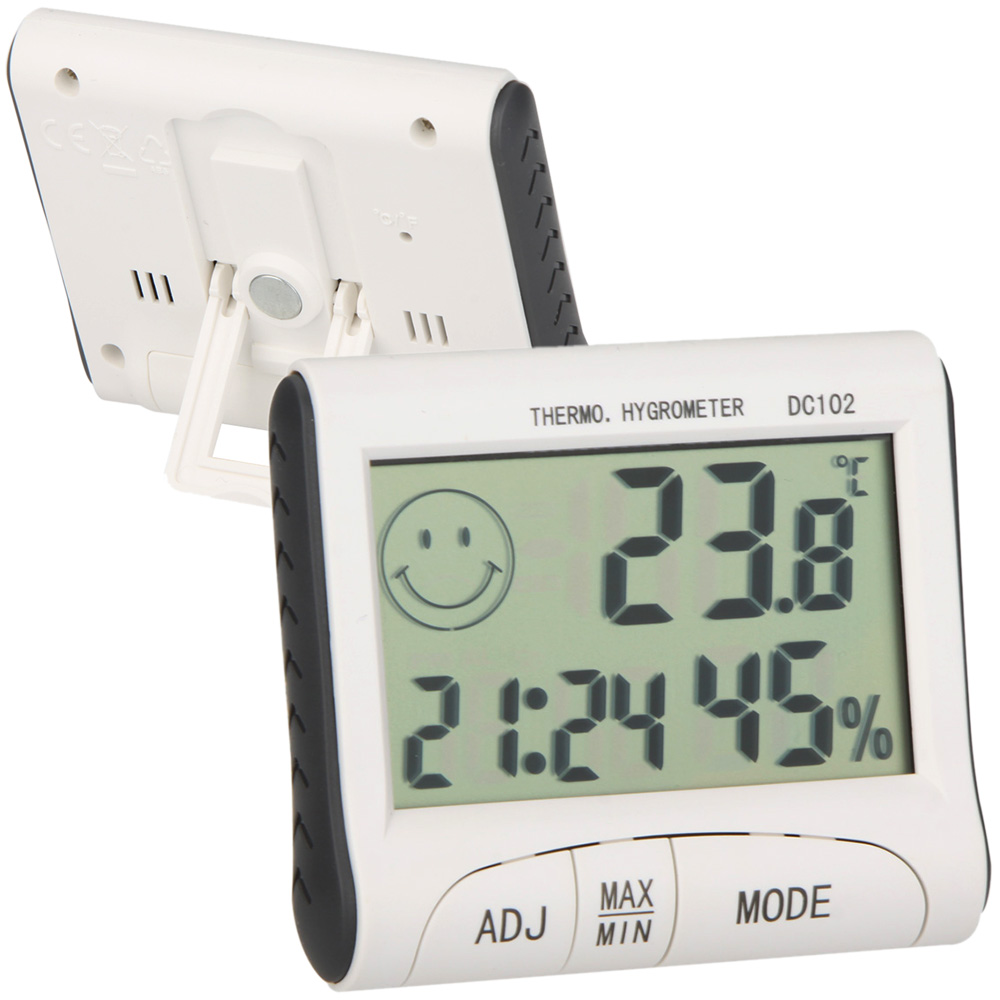 Kkmoon Lcd Digital Thermometer Hygrometer Temperature Humidity Meter Multifunction And With Clock Alarm Buy At Amazon