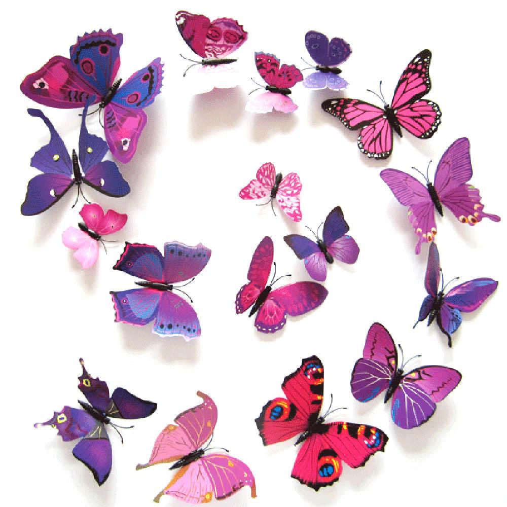 Farfalle Fai Da Te solo 3.71€, 12pcs 3d farfalla rimovibile wall decal farfalle art adesivi  decalcomanie murale carta da parati fai da te per la decorazione domestica  -