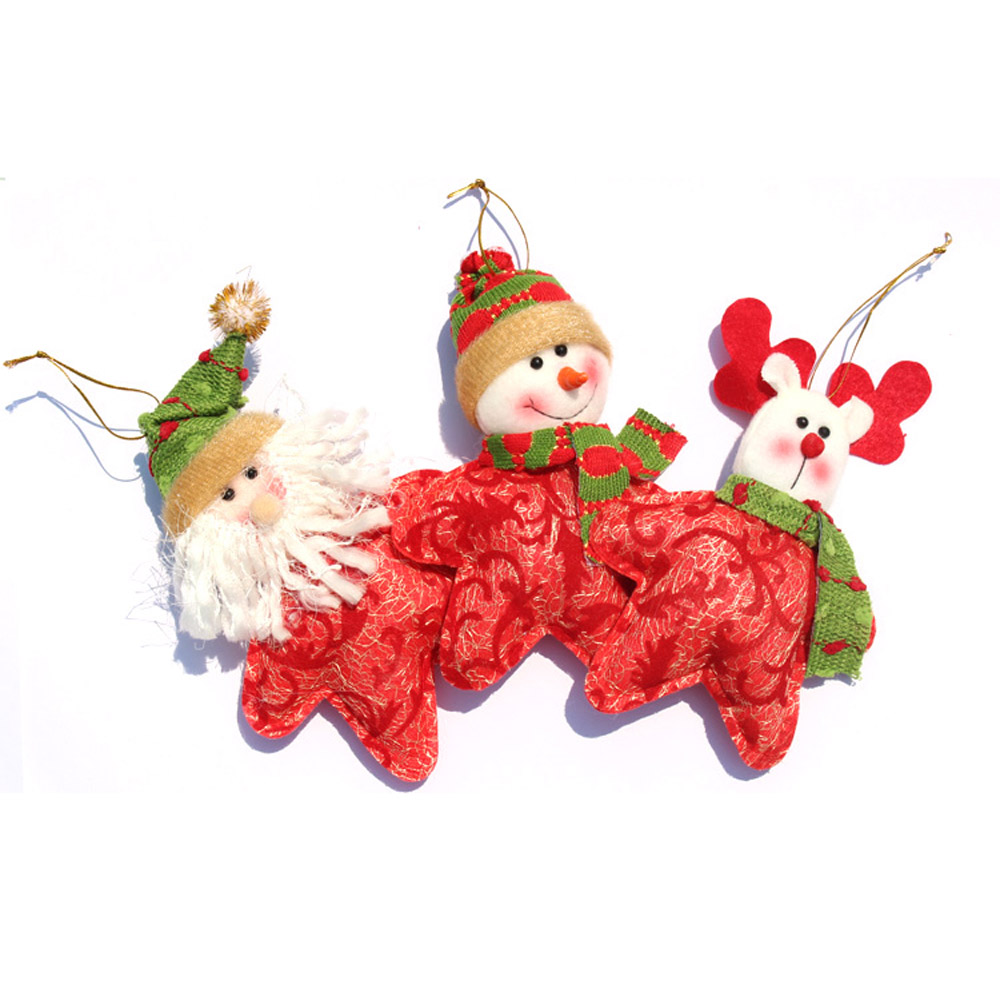 cute star shaped santa claus reindeer snowman christmas decoration - Santa Claus Christmas Decorations