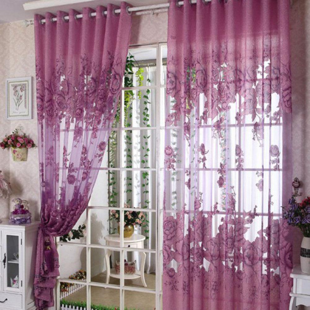 Rideau Pour Porte Fenetre only 16.10€, européen rideaux d'ombrage à moitié de première qualité  rideaux du motif de grande fleur de pivoine pour la décoration de porte  fenêtre