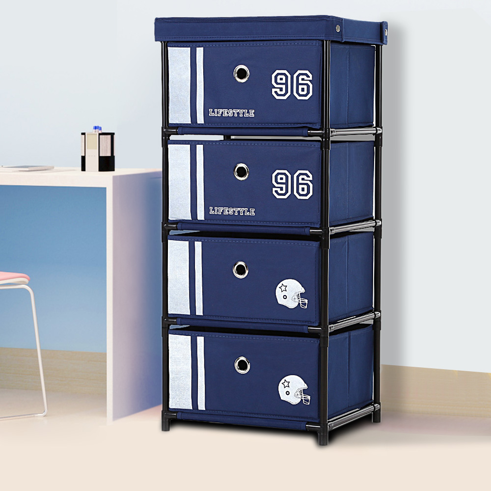 Blue Ikayaa Antique Fabric 4 Drawer Cabinet Lovdock Com
