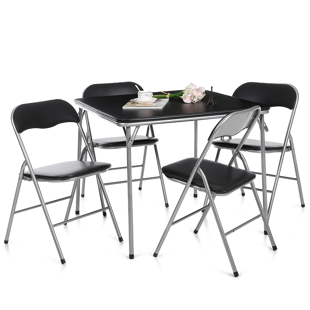 Ikayya set de table et chaises pliantes en m tal et cuir for Ensemble table et chaise noir