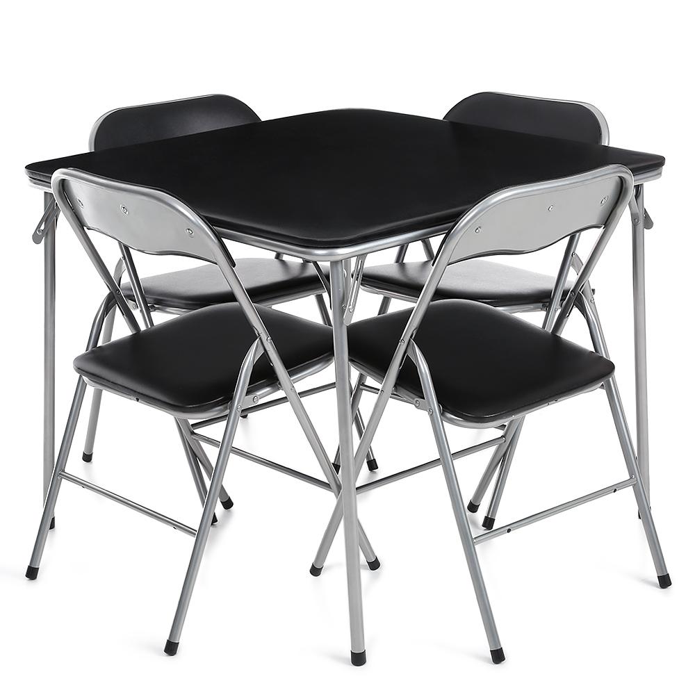 Nur 54.44€, iKayaa 5PCS Metallfalte Küche Esstisch Stuhl Set Möbel ...