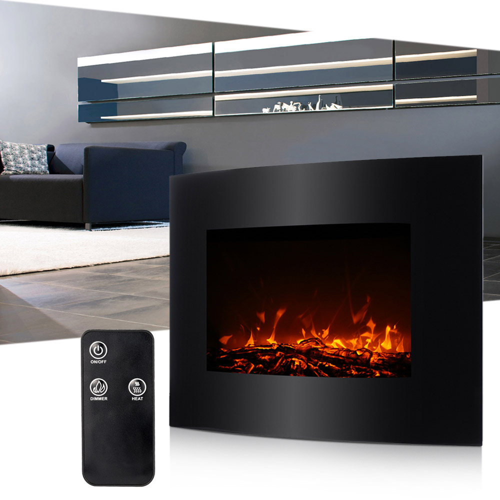 Decdeal XL Große Elektrische Kamin 3D Flammen Heizung Mit Fernbedienung