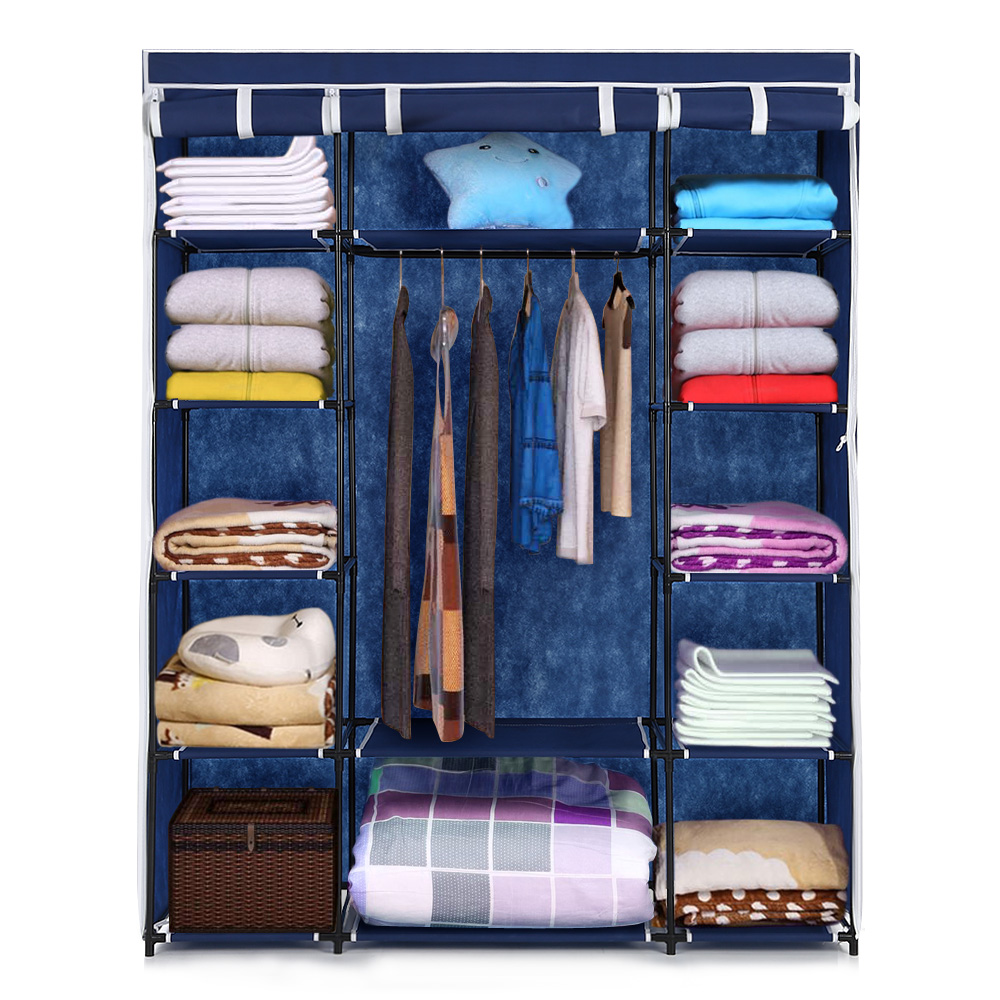 blue ikayaa portable closet fabric clothing storage. Black Bedroom Furniture Sets. Home Design Ideas