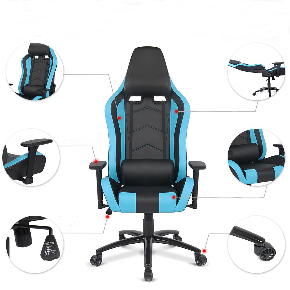 fauteuil de bureau avec coussin lombaire noir et bleu. Black Bedroom Furniture Sets. Home Design Ideas