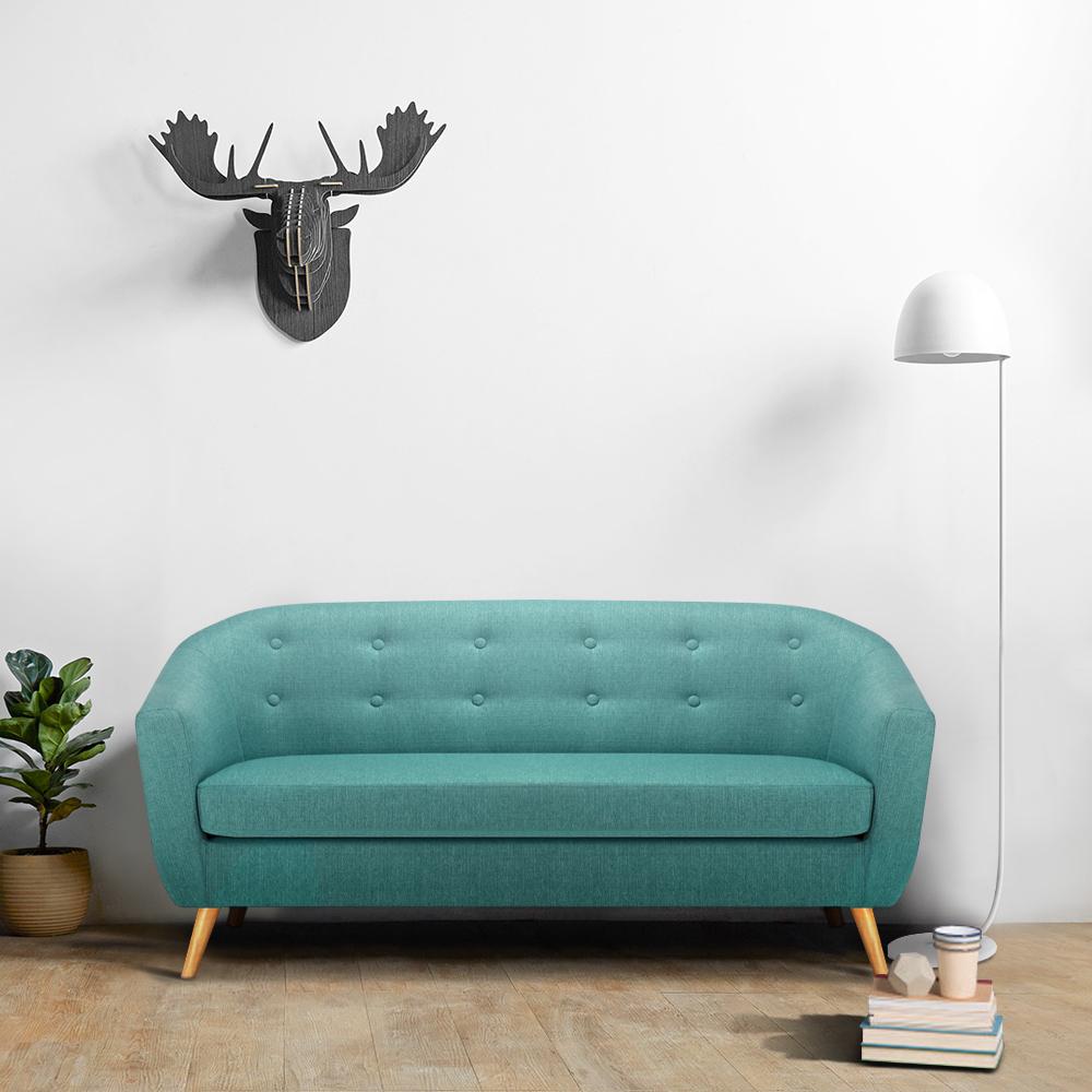 IKAYAA Mid Century Leinengewebe Tufted 3 Sitzer Sofa Couch Polster  Wohnzimmer Lounge Sofa Möbel W