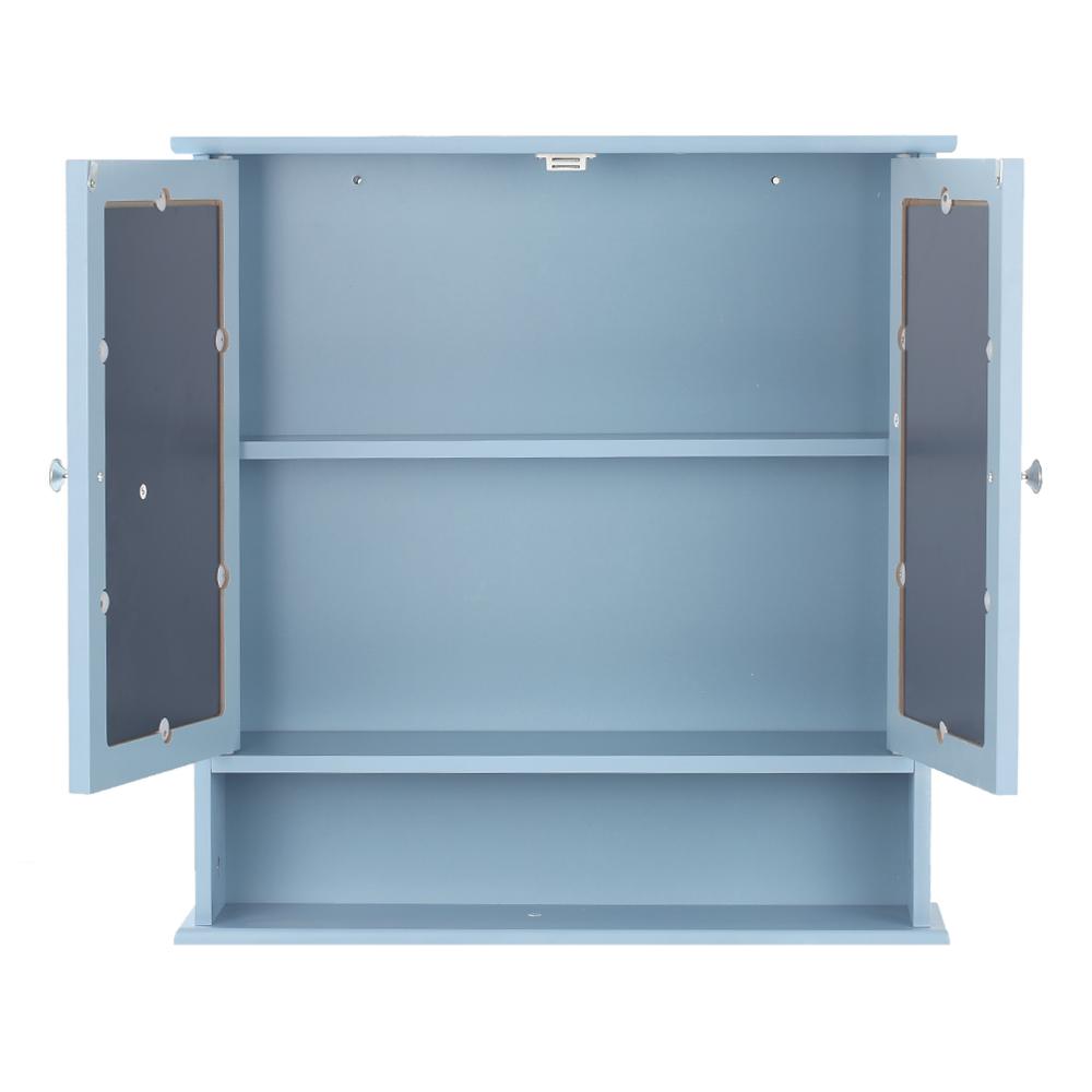 Ikayaa Modern 2 Door Wall Cabinet With Glass Doors Shelves
