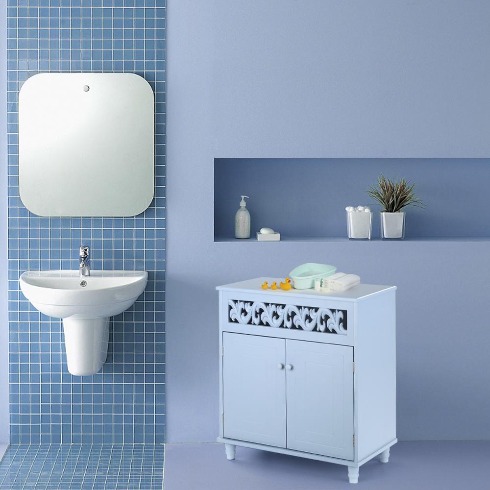 Ikayaa Modern Bedroom Bathroom Double Door Floor Shelved Storage Cabinet