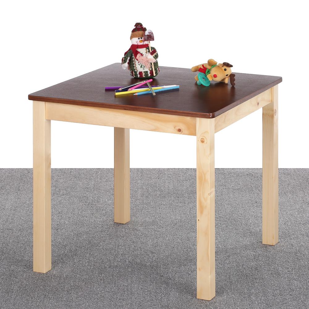 Interougehome table en bois de pin carr e et color e for Table en pin