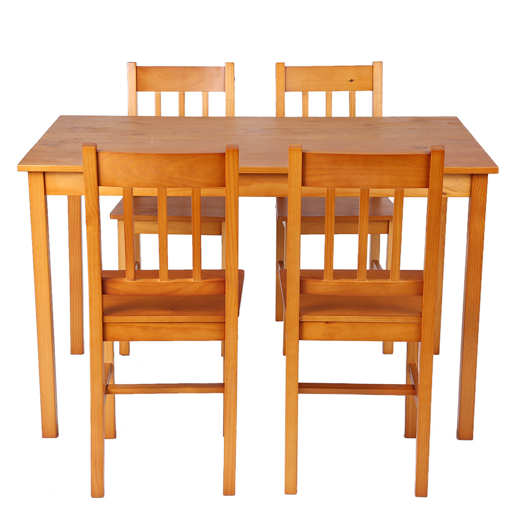 Light brown ikayaa modern 5pcs wood kitchen dining table for Wood kitchen table sets