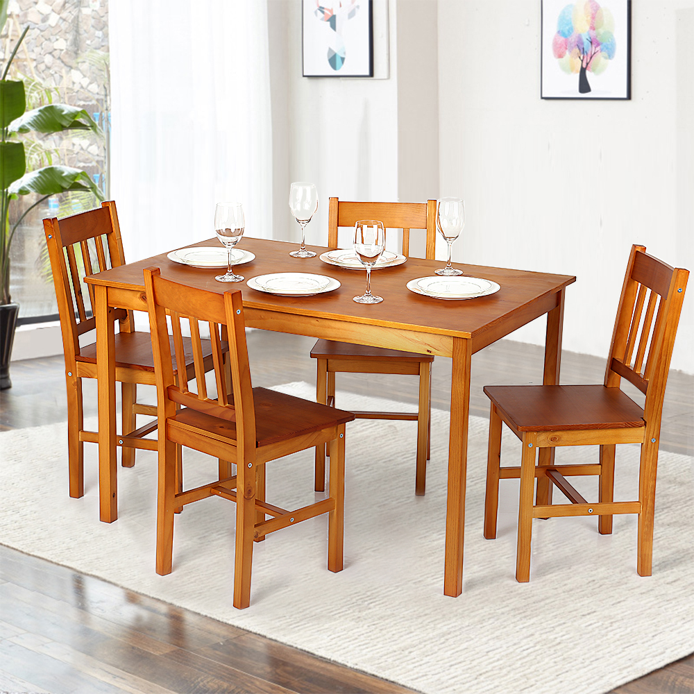 Light brown ikayaa modern 5pcs wood kitchen dining table for Acheter chaises salle a manger